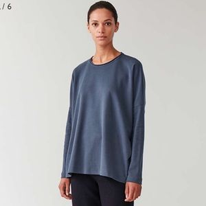 COS Curved Hem Jersey Top- Blue